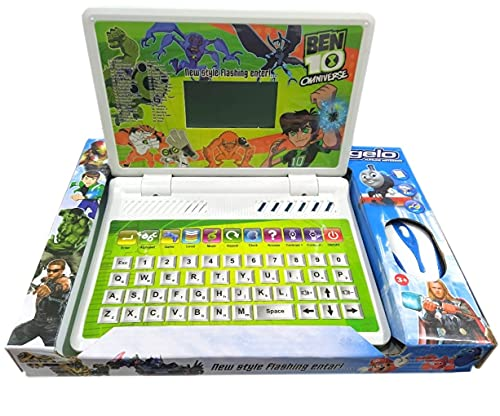 HALO NATION® Kids 40 Activity Laptop Learning Machine Laptop with Mouse - Educational Toy Laptop for Kids, Play and Learn English Word Letter Logic Math Calculation Memory Game - Green