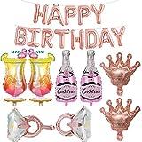 BESLIME 9Pcs Bague de Mariage Ballons, Coupe à Vin Ballons Verre à bière en Aluminium pour Partie Anniversaire Fêtes Mariage Décor