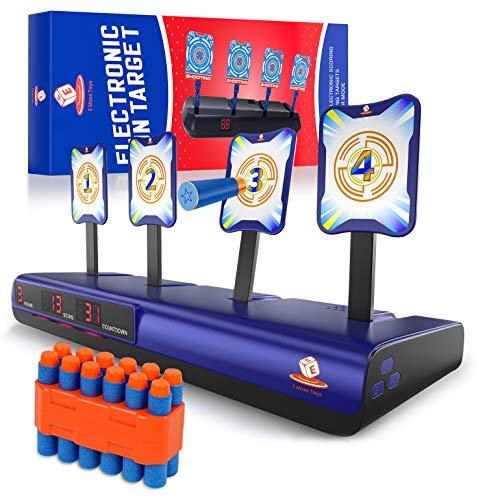 Emaas Bullseye Electronic Running Shooting Target for Nerf Gun Toys – Auto Scoring Target - Digital Targets Kids Age 3-12 - Boys & Girls – Solo and Multi-Player Mod