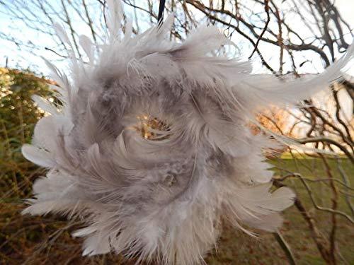 Trendshop-online Federkranz echte Federn Tischdeko Kränze Osterkranz Nest Ø 10 cm Hellgrau