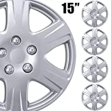 BDK (4-Pack Premium 15'' Wheel Rim Cover Hubcaps OEM Style Replacement Snap On Car Truck SUV Hub Cap - 15 Inch Set, 6 Style Spoke (KT-993-15_df2)