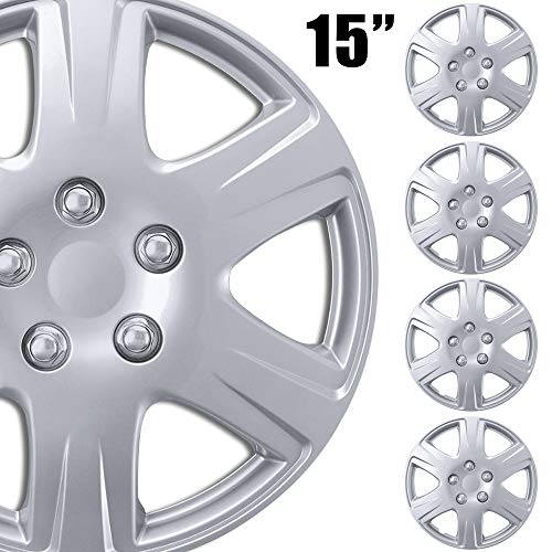 BDK (4-Pack Premium 15' Wheel Rim Cover Hubcaps OEM Style Replacement Snap On Car Truck SUV Hub Cap - 15 Inch Set