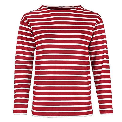 modAS Bretonisches Damen Fischerhemd Langarm Streifen Hemd rot/weiß gestreift 2500D_02 Größe 44 (Damen) / 52 (Herren)