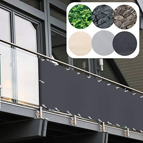 Balkon Sichtschutz PVC | 90x600 cm | Extra Blickdicht | Balkonverkleidung aus wetterfestem Kunststoff mit UV-Schutz | Deko für Balkongeländer, Terrasse & Garten | viele Farben & Designs (Anthrazit)