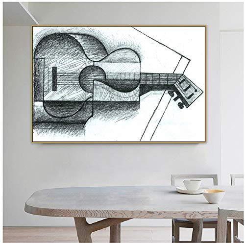 wzgsffs Juan Gris, Antiguo Maestro Famoso, Artista español, la Guitarra, Lienzo, Pintura, póster, decoración de Pared, Arte de Pared pop-20X30 Pulgadas sin Marco