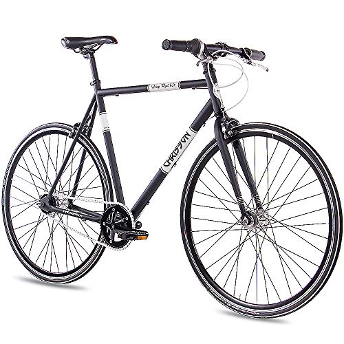 CHRISSON 28 Zoll Retro Rennrad Vintage Bike - Vintage Road N7 schwarz 59 cm mit 7 Gang Shimano Nexus Nabenschaltung, Urban Old School Fahrrad für Damen und Herren