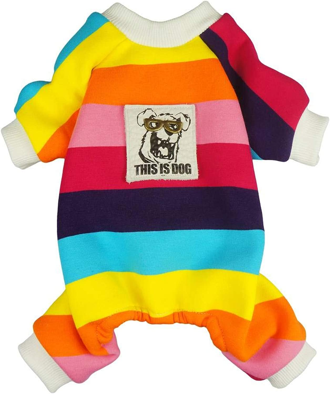 Fitwarm Rainbow Pet Clothes for Dog Pajamas Coats Cat Jumpsuit PJS Velvet Small