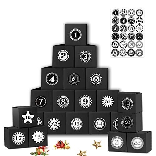 Sunshine smile Adventskalender zum Befüllen Boxen, 24 pcs Adventskalender Geschenkbox mit Zahlenaufklebern, Weihnachts Geschenkschachtel,Xmas Gift Box,Weihnachten Geschenkboxen Set (schwarz)