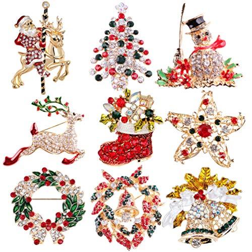 LIOOBO 9 Piezas Broche de Navidad alfileres Cristal Rhinestone Broche de Navidad Fiesta de Navidad Favor Regalo Relleno embutidora