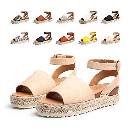 Sandalias Mujer Verano Plataforma Alpargatas Esparto Cuña Zapato Punta Abierta HebillaComodas Caqui Talla 40 EU