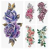 18 Sheets glaryyears Temporary Tattoos for Women - Henna Mandala Flower Collarbone Tattoo, Rose Cherry Blossoms Snake Fake Tattoo for Calf Arm, Multi-colored Waterproof Tattoos Body Art, 3.9x8.26 inch