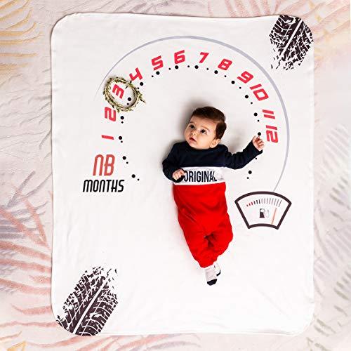 Manta de bebé Speed Milestone perfecto regalo para baby shower. Primer año para envolver como fondo de fotografía, manta grande suave como alfombra de juegos para bebé.