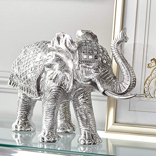 "Studio 55D Walking Elephant 12 3/4"" High Silver Statue"