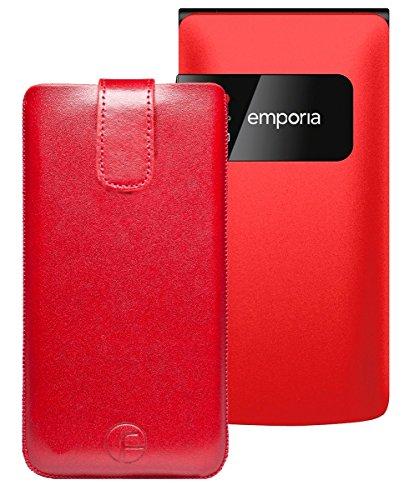 Favory Tasche Leder Etui / Emporia F220 Großtastenhandy / ECHT Ledertasche Hülle Schutzhülle (Lasche mit Rückzugfunktion) rot