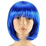 Matissa Mujeres Cortas Peluca Bob Fancy Dress Cosplay Wigs Pop Party Costume (Azul)