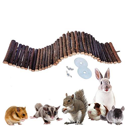 Vogelspeelgoed Natuurlijke ophanging Brug Houten dier Klimmen Ladder, Mooie Houten Kauwspeelgoed Ladder voor Kleine Huisdieren Hamster Ratten Vogels Chinchillas Guinea Varkens, 15 * 70cm, Wood color