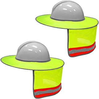 XIAKE 2 Pack Hard Hat Sun Shield Full Brim Mesh Neck Sunshade with Reflective Strips,High Visibility Yellow