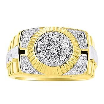 RYLOS Mens Rings 14K Yellow Gold - Mens Diamond Ring White Gold Ring Band Designer Style Rings For Men Mens Jewelry Gold Rings