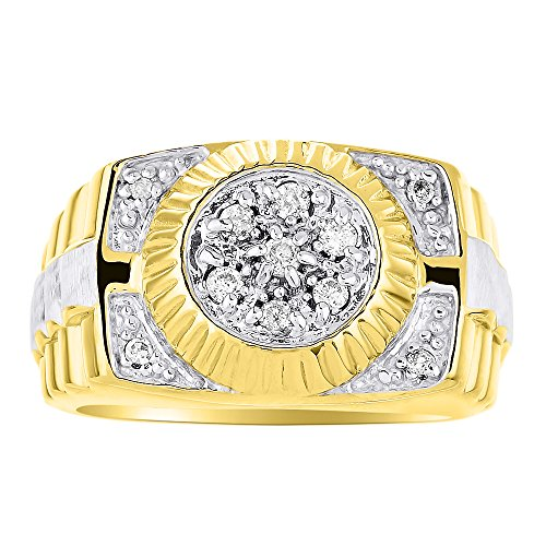 RYLOS Anillos para hombre de oro amarillo de 14 quilates, anillo de diamante para hombre, anillo de oro blanco, anillos de estilo Rolex para hombres, joyería de oro