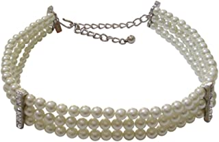 Kenneth Jay Lane Faux Pearl and Crystal 3 Row Choker Necklace
