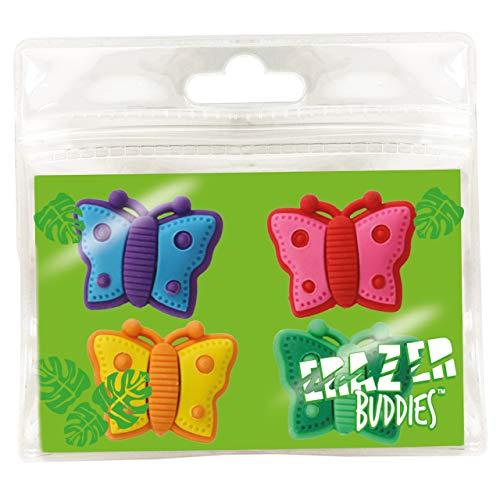 Erazer Buddiez - Mariposa de Deluxebase. Gomas de borrar con forma de mariposa para niñas y niños. Colorido set de borradores de lápiz, ideal para útiles escolares y artículos de oficina