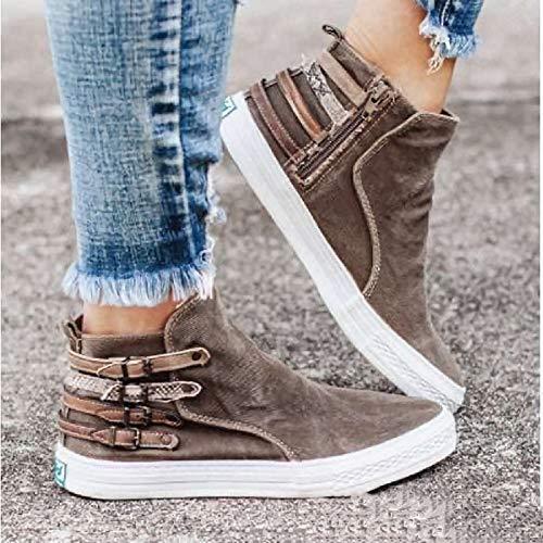 Kvinnors sneakers mode kilklack canvas snör åt sidan dragkedja bälte spänne platta skor klassiska bekväma stövletter,Khaki,40