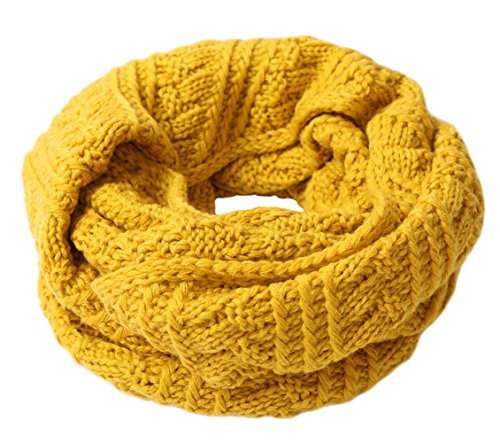 DELEY Donna Maglia Sciarpa Lana Cerchio Sciarpe Avvolgere Collo Cappuccio Inverno Caldo Di Spessore Cavo Scialle Scarf Giallo-1