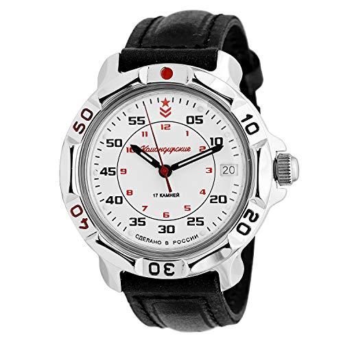VOSTOK | Komandirskie Russian Army Commander Classic Military Mechanical Wrist Watch | Fashion | Business | Casual Men's Watches | Model 811171 Leather Band B