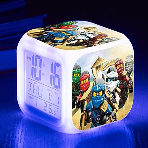 HHKX100822 Kinderwecker Led Digitale Bunte Quadratische Uhr Kreatives Geschenk Kleiner Wecker(NAUXIU) T
