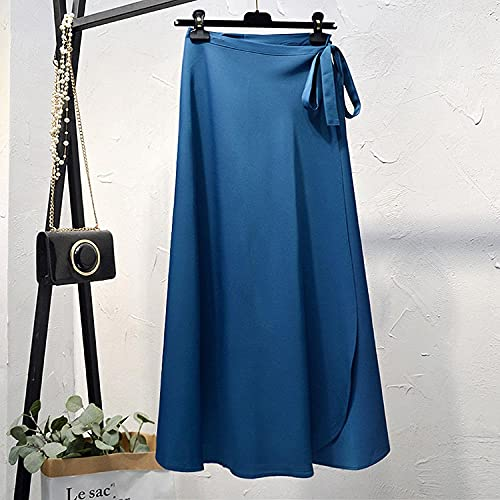 FWJSDPZ Summer Skirts Womens Waist Side Tie Beach Casual Wrap Skirt Women Solid Elegant Midi Skirt Woman Clothes (Color : Peacock Blue, Size : One Size)