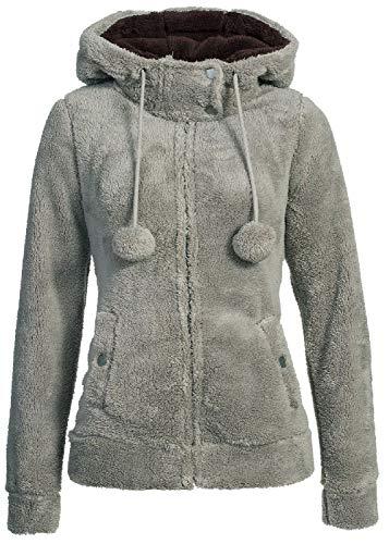 Urban Surface Damen Teddy Fleecejacke mit Öhrchen und Kapuze | Kuscheliger Zip Kapuzenpullover, Größe:S, Farbe:Mid Grey
