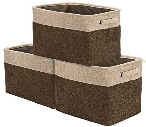 Sorbus Storage Large Basket Set [3-Pack] - 15 L x 10 W x 9 H - Big Rectangular Fabric Collapsible Organizer Bin Box with Carry Handles for Linens, Towels, Toys, Clothes, Kids Room, Nursery (Brown/Tan)