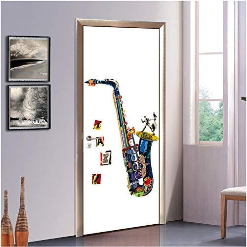 Creatieve 3D-sticker voor deur, om zelf te maken, afneembaar, PVC, woonkamer, slaapkamer, kinderkamer, kamer, cartoon, abstract muziekinstrument, saxofoon 77x200cm