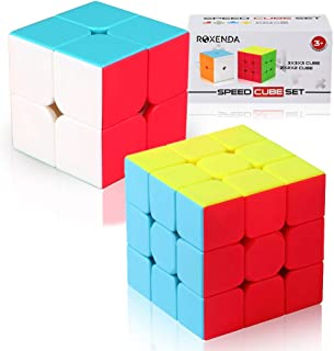 Roxenda Speed Cube Set of 2x2x2 3x3x3 Stickerless Magic Cube Enhanced Edition with Gift Box