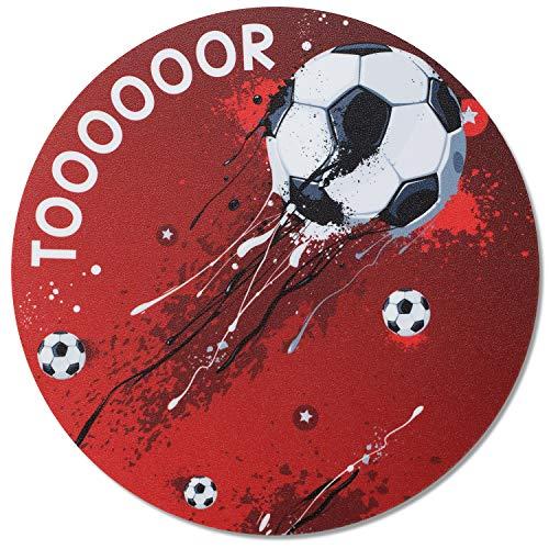 Mauspad im Fußball-Design I Ø 22 cm rund I Mousepad in Standard-Größe, rutschfest I für, Jungs cool I dv_656
