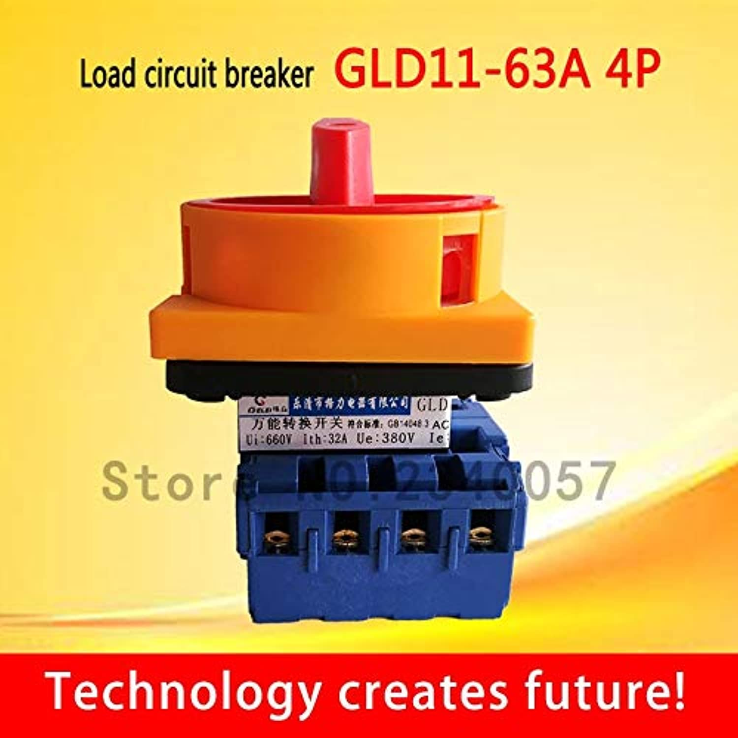 Load Circuit Breaker Switch GLD1125A 32A 40A 63A 80A 100A 4P Main Switch Motorized redary Switch pad Lock onOff Power Switch  (color  GLD1140A 4P)