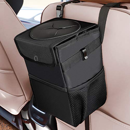 A AUESNY Upgraded Car Trash Can with Lid and 3 Storage Pockets, 100% Leak-Proof Car Organizer, Waterproof Car Garbage Can, Multipurpose Trash Bin for Car -Auto Car Trash Bag Black 2.4 Gallons