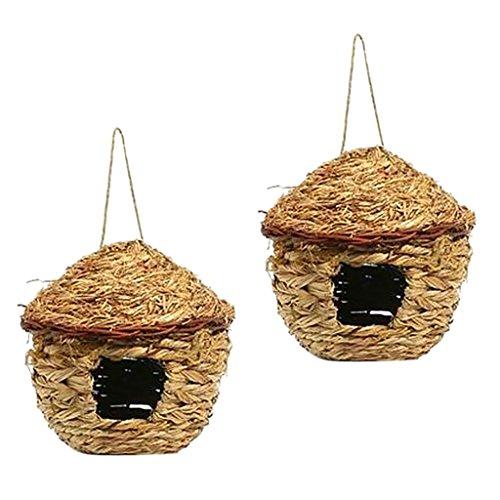 F Fityle 2X Casetta A Forma di Uccellino Nido D'allevamento Nidiata Wild Life Hanging Pocket House Regali da Giardino A Clima Freddo