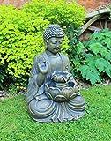 HH Home Hut Buddha Water Feature Fountain Garden Ornament Decoration Outdoor LED Bronze 50cm