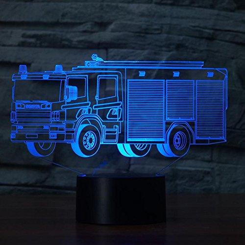 3D Feuerwehr Auto Optische Illusions-Lampen, Tolle 7 Farbwechsel Acryl berühren Tabelle Schreibtisch-Nachtlicht mit USB-Kabel für Kinder Schlafzimmer Geburtstagsgeschenke Geschenk