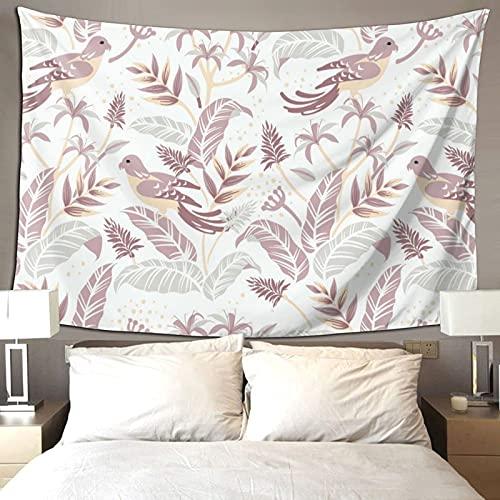 Verano Vibe Hojas Tropicales Flores Pájaro Rosa Decoración de la Habitación Tapiz Colorido Para Dormitorio Estético Pared Tapiz 90*60 Pulgadas Prioridad Envío