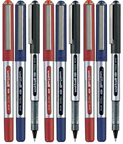 Uni-Ball UB-150, colori assortiti (confezione da 9) Eye Micro-Penna a sfera, punta da 0,5 mm (3') per ogni colore: nero, Rosso, blu, 9 pezzi)