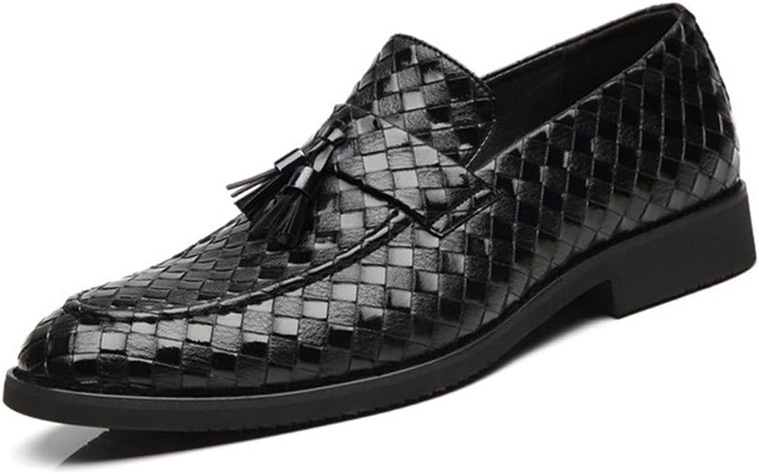 AADDIN Leather shoes Tassel Braided Pattern shoes Slip-On Men'S Business shoes Formal Dress shoes