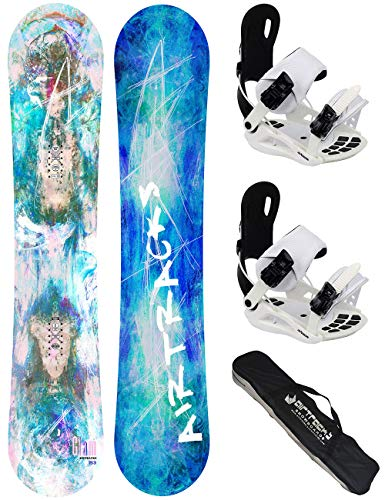 Airtracks dames snowboard complete set/Glam Lady snowboard Flat Rocker + Binding Star W of Binding Master W FASTEC + SB Bag / 144 147 150 153 / cm