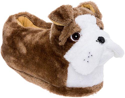 Silver Lilly English Bulldog Slippers - Plush Animal Slippers w/Platform (Tan/White, Medium)