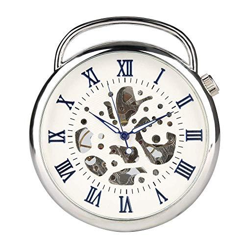 WMYATING Atmosphère Nouvelle et Haut de gamme, précision de Reloj de Bolsillo mecánico operado a Mano para Hombre Caja de Plata Azul Relojes de Bolsillo Digital Romanos para niños