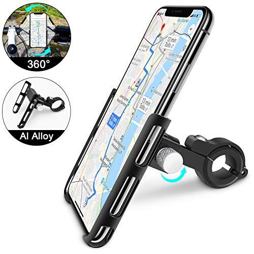 Handyhalterung Fahrrad, Handyhalter Motorrad, 360° Drehbar Aluminiumlegierung Universal Outdoor Anti-Shake Fahrrad Halter Verstellbaren für 3,6-6,2 Zoll Smartphone Elektronische GeräTe (schwarz)