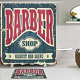 Juego de cortinas y tapetes de ducha de tela,Barba Barbero Hipster Corte de pelo y Afeitado Vintage Barbería Retro Ant,cortinas de baño repelentes al agua con 12 ganchos, alfombras antideslizantes