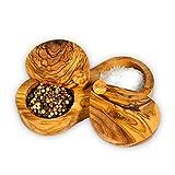 Caja de especias de madera de olivo Darido, tarro de especias duradero 2 en 1, caja de condimentos para sal, pimienta y hierbas, cuenco de café y azúcar, estilo vintage