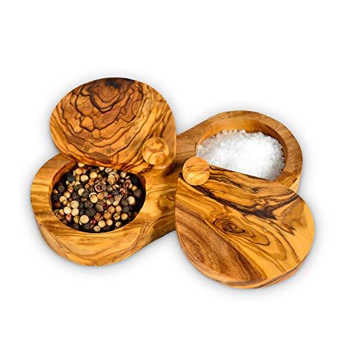 Darido Scatola per spezie in legno d'ulivo - Barattolo per spezie durevole 2 in 1 - Scatola per condimento per sale, pepe ed erbe aromatiche - Ciotola per caffè e zucchero - Stile vintage